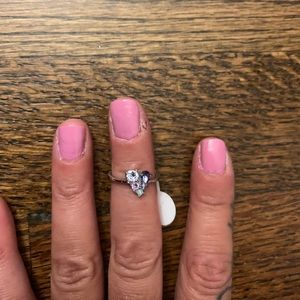 Swarofsky Crystal Ring sz 5 heart cluster ring